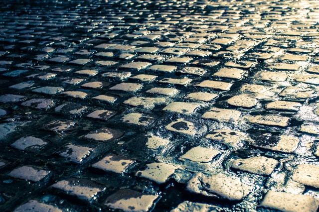 Wet cobblestone street in Europe