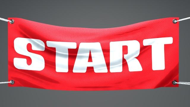Striscione bandiera partenza, inizio