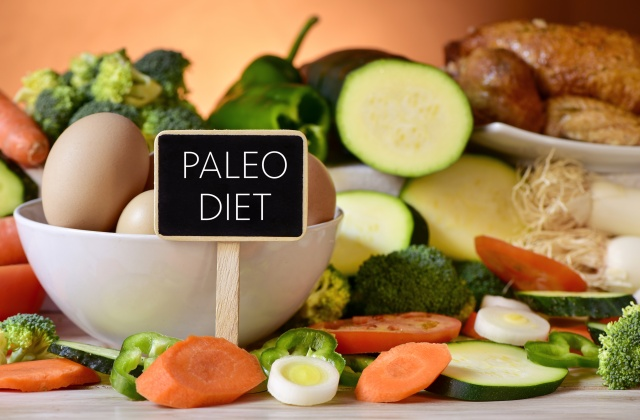 eggs, chicken, vegetables and text paleo diet